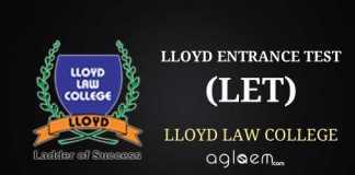 Lloyd entrance test LET 2014