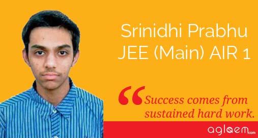 JEE Main 2014 AIR 1 Srinidhi Prabhu