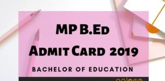 MP B.Ed Admit Card 2019 Aglasem