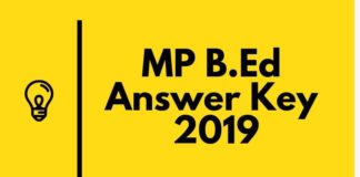 MP B.Ed Answer Key 2019 Aglasem