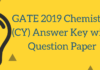 GATE 2019 Chemistry (CY) Answer Key with Question Paper