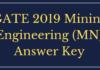 GATE 2019 Mining Engineering (MN) Answer Key