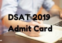 DSAT 2019 Admit Card Aglasem