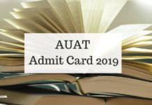 AUAT Admit Card 2019