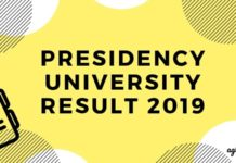 PRESIDENCY UNIVERSITY RESULT 2019 Aglasem