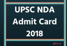 UPSC NDA Admit Card 2018