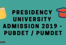 Presidency University Admission 2019 – PUBDET / PUMDET 2019 Aglasem