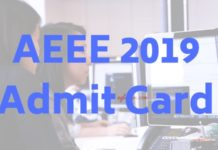 AEEE 2019 Admit Card