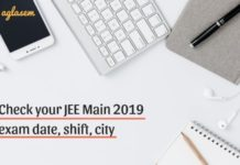 JEE Main 2019 exam date shift city