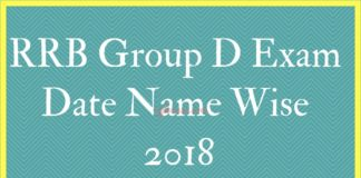 RRB Group D Exam Date Name Wise
