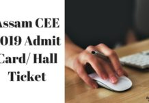 Assam CEE 2019 Admit Card Hall Ticket