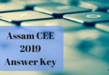 Assam CEE 2019 Answer Key