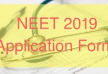 NEET 2019 Application Form