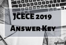 JCECE 2019 Answer Key Aglasem