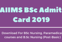 AIIMS BSc Admit Card 2019