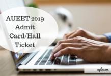 AUEET 2019 Hall Ticket