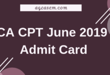 CA CPT June 2019 Admit Card
