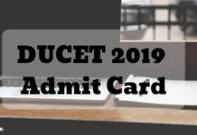 DUCET 2019 Admit Card Aglasem