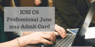 ICSI CS Professional June 2019 Admit Card