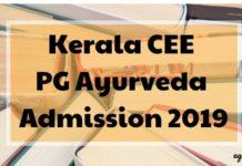 Kerala CEE PG Ayurveda Admission 2019 Aglasem