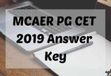 MCAER PG CET 2019 Answer Key Aglasem