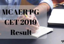 MCAER PG CET 2019 Result Aglasem