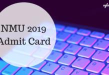 NMU 2019 Admit Card
