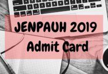 JENPAUH 2019 Admit Card Aglasem