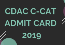CDAC C-CAT Admit Card 2019