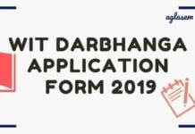 WIT Darbhanga Application Form 2019 Aglasem