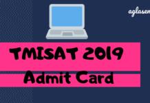 TMISAT 2019 Admit Card