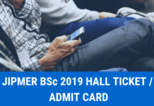 JIPMER BSc 2019 Hall Ticket