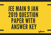 JEE Main 9 Jan 2019 Question Paper with Answer Key