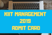 KIIT Management 2019 Admit Card