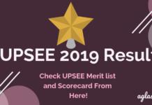 UPSEE 2019 Scorecard and Merit List