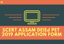 SCERT ASSAM DELED PET 2019 APPLICATION FORM