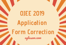 OJEE 2019 Application Form Correction
