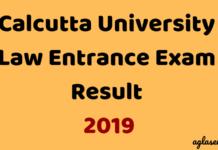 Calcutta University Law Entrance Exam Result 2019